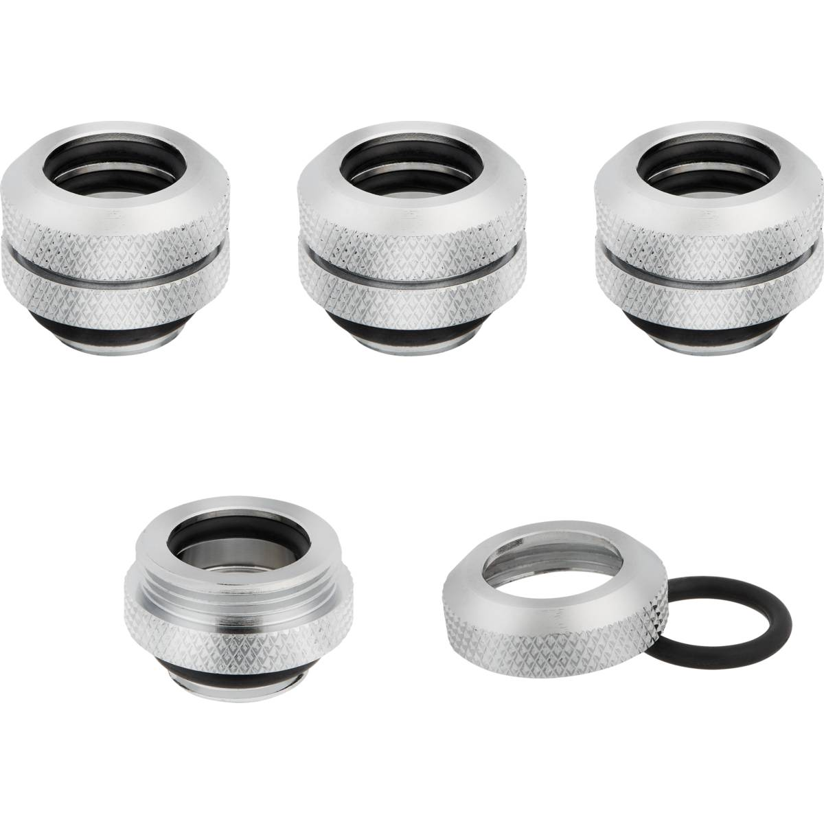 CORSAIR Hydro X Series XF Hardline 12mm OD Fitting Four Pack - Chrome