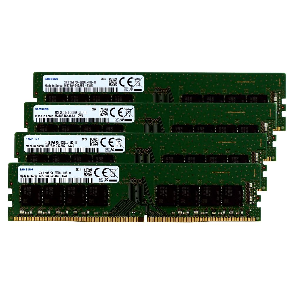 【取寄せ商品:通常納期約4〜5営業日】 aiutoセレクトメモリー SAMSUNG純正 DDR4-3200 32GBx4枚組 128GB KIT
