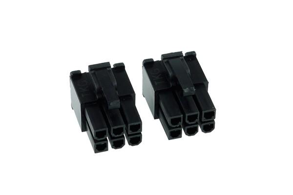 Phobya VGA Power Connector 6Pin male (tapered) incl. 6 Pins - 2 pcs black