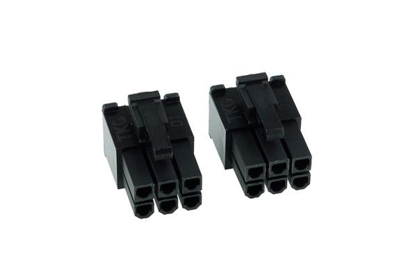 Phobya VGA Power Connector 6Pin male (square) incl. 6 Pins - 2 pcs black