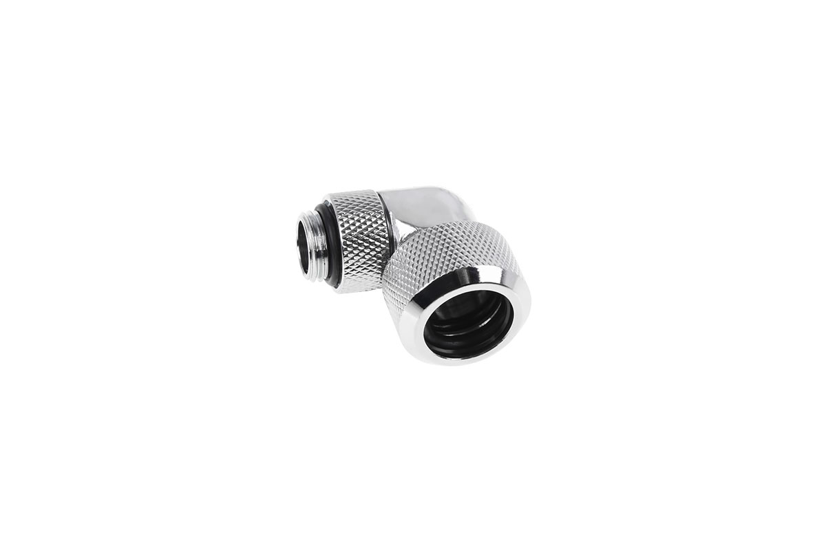 Alphacool Eiszapfen 16mm HardTube compression fitting 90° rotatable G1/4 - knurled - chrome