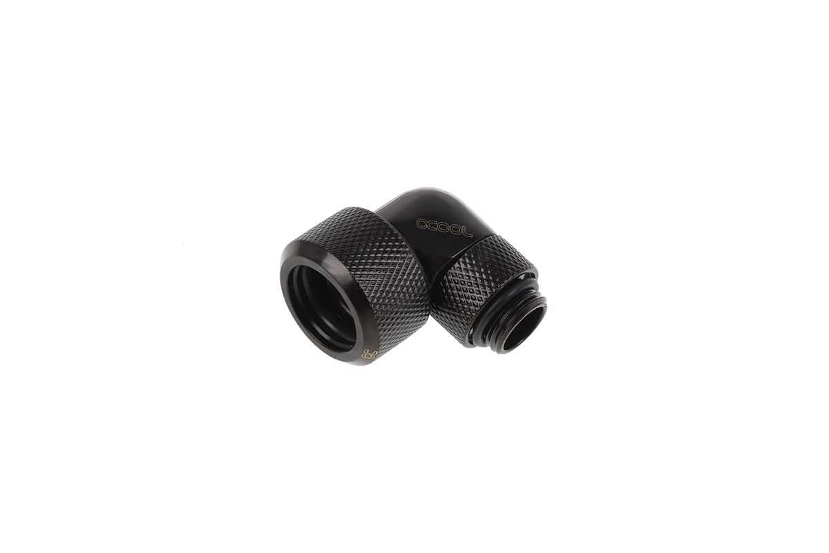Alphacool Eiszapfen 16mm HardTube compression fitting 90° rotatable G1/4 - knurled - deep black