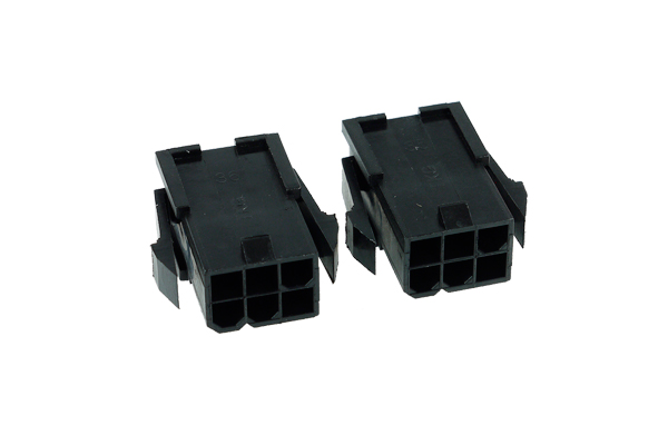 Phobya VGA Power Connector 6Pin female (square) incl. 6 Pins - 2 pcs black