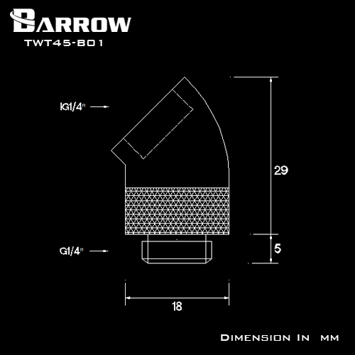 BARROW 45°Rotary Adapter ( Male to Female ) Shiny silver