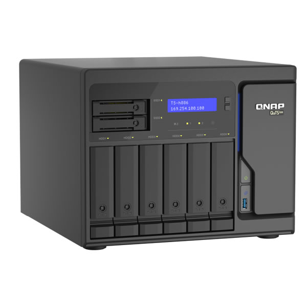QNAP TS-h886-D1622-16G 2.5GbE 2.5/3.5インチ 6台、2.5インチ 2台搭載可能