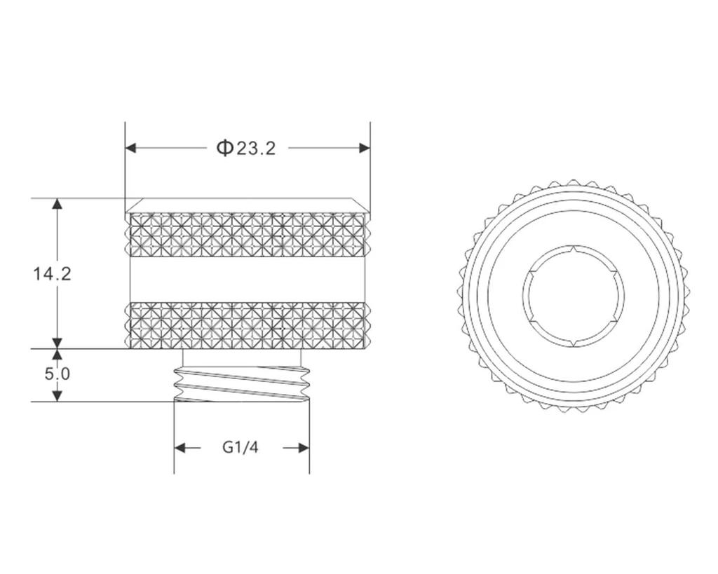 Bykski Anti-Off Rigid 14mm OD Fitting - Black (B-FTHTJ-L14)