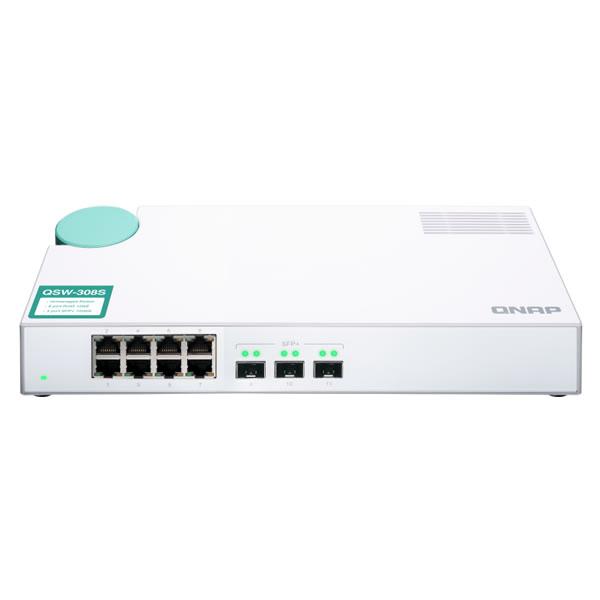 QNAP QSW-308S SFP+10GbE 3ポート RJ45 ギガビット 8ポート アンマネージドスイッチ