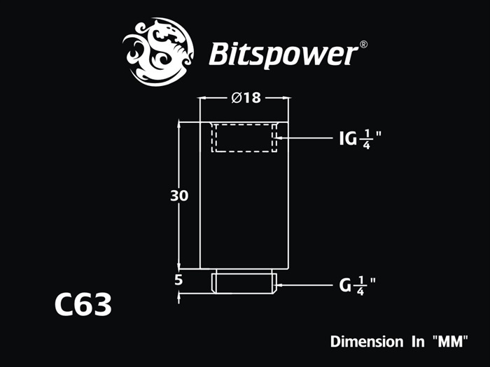 Bitspower G1/4 SS IG1/4 Extender-30mm