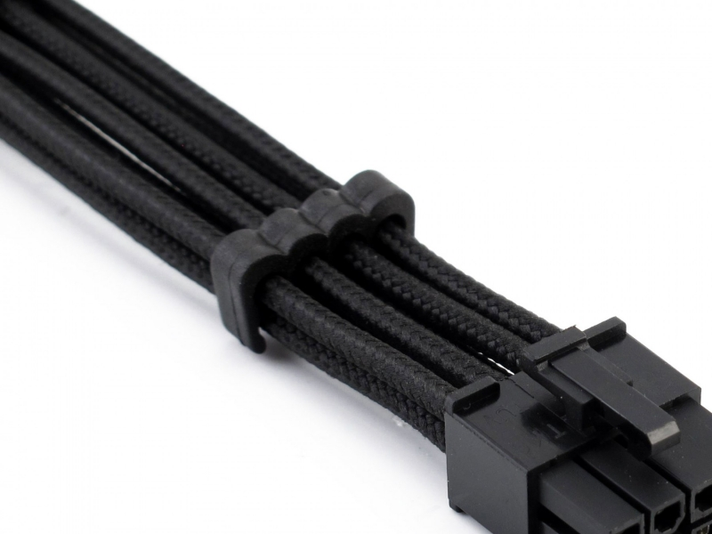 XSPC Sleeved Cable Comb, 4+4 EPS/8-Pin PCI-E (Black) 4 Pack