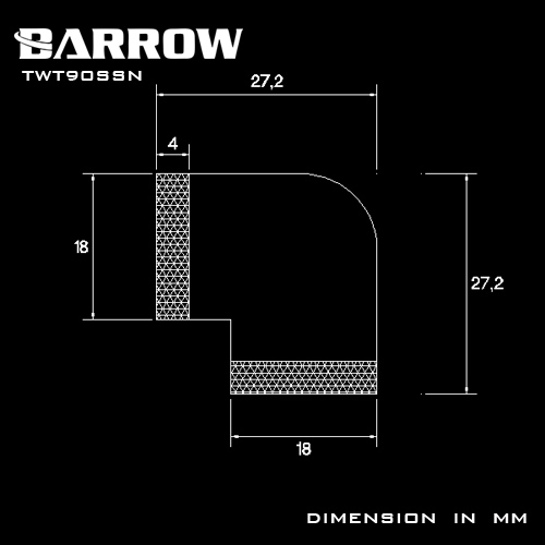 BARROW 90°With Dual Rotary Inner Adapter Shiny silver