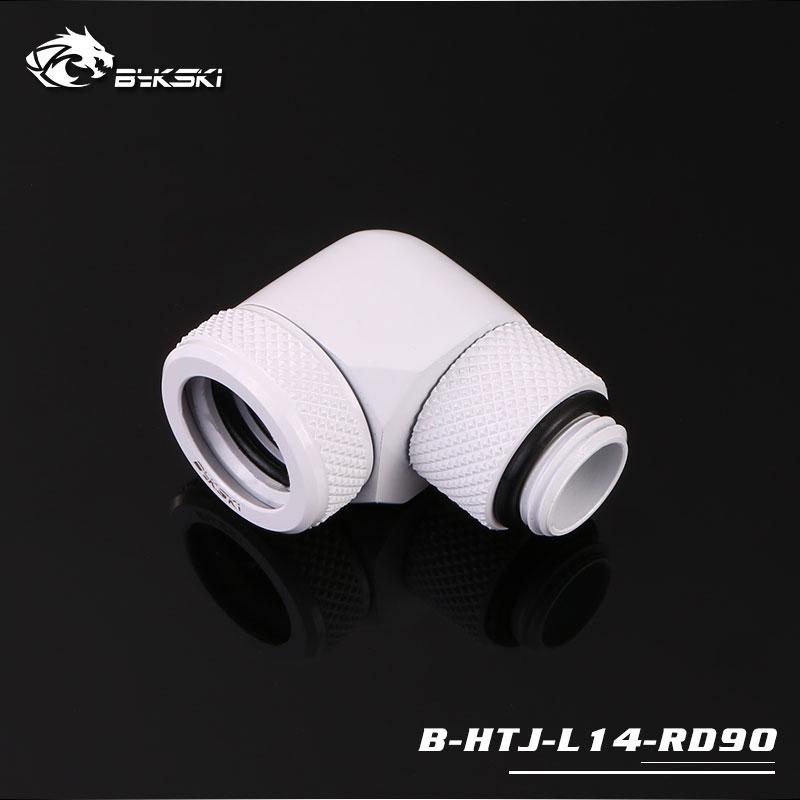 Bykski G/14 Rigid 14mm OD 90 Degree Rotary Fitting Adapter - White
