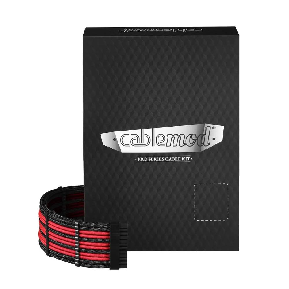 CableMod C-Series PRO ModMesh Cable Kit for Corsair AXi / HXi / RM (Yellow Label) - BLACK / RED (CM-PCSI-FKIT-NKKR-R)