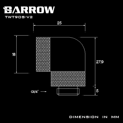 BARROW 90°Dual Rotary Adapter (Male to Female) White