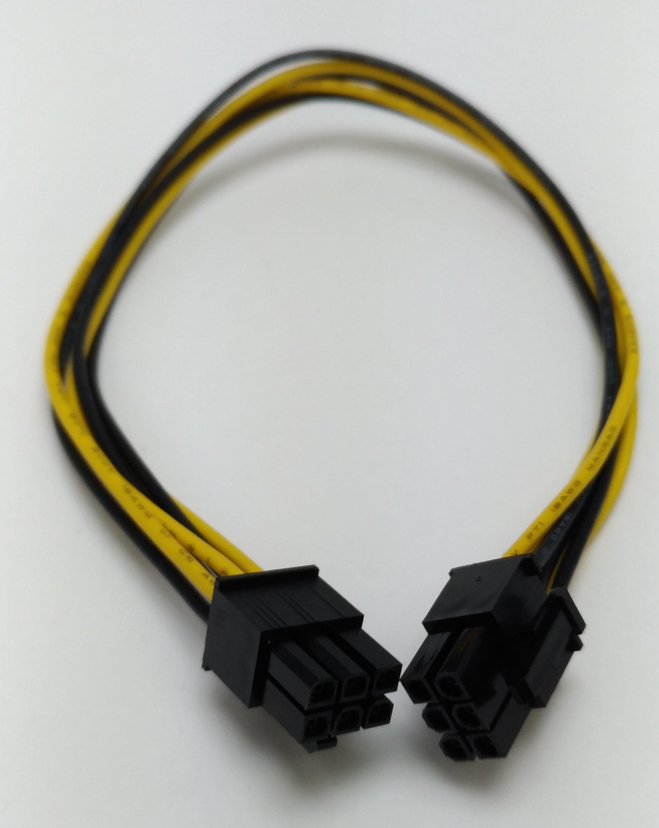 6pin-6pin male VGA用12V ケーブル