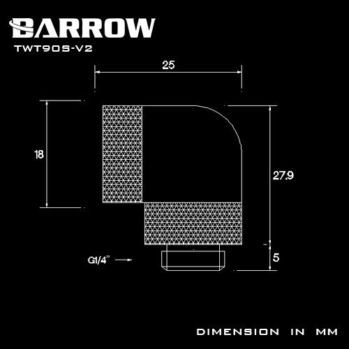 BARROW 90°Dual Rotary Adapter (Male to Female) Black
