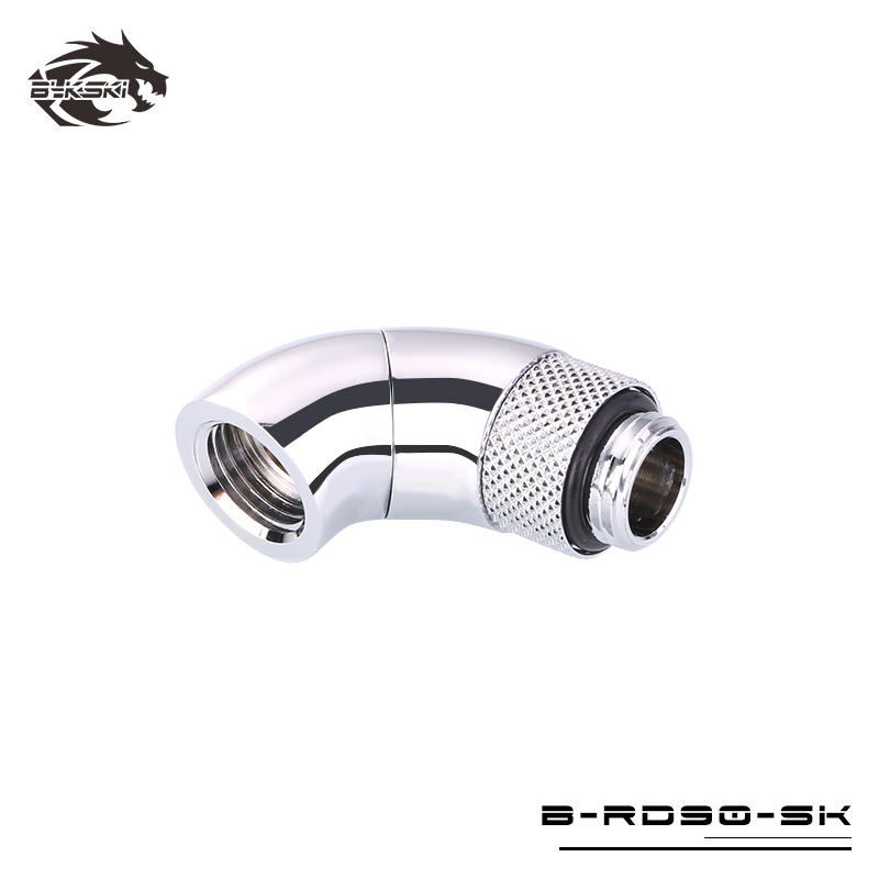 Bykski G1/4 Male to Female 90 Degree Double Rotary Elbow Fitting - Silver