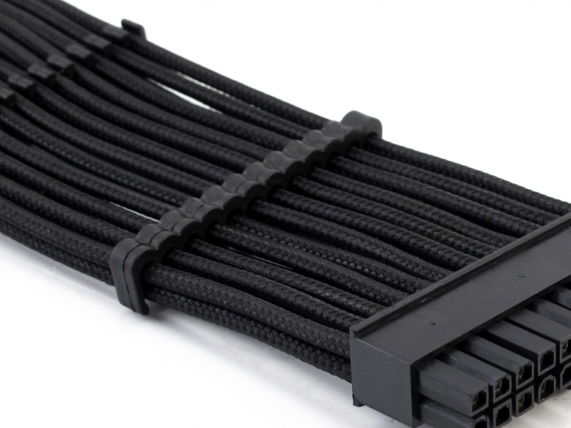 XSPC Sleeved Cable Comb, 24 Pin ATX (Black) 4 Pack