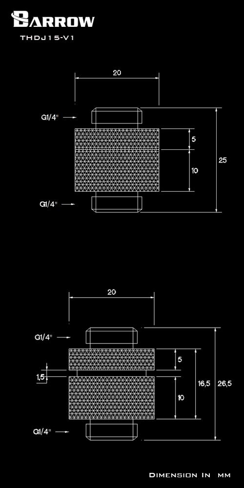 BARROW Minor Adjustment Set - 15mm(Male To Male) Black