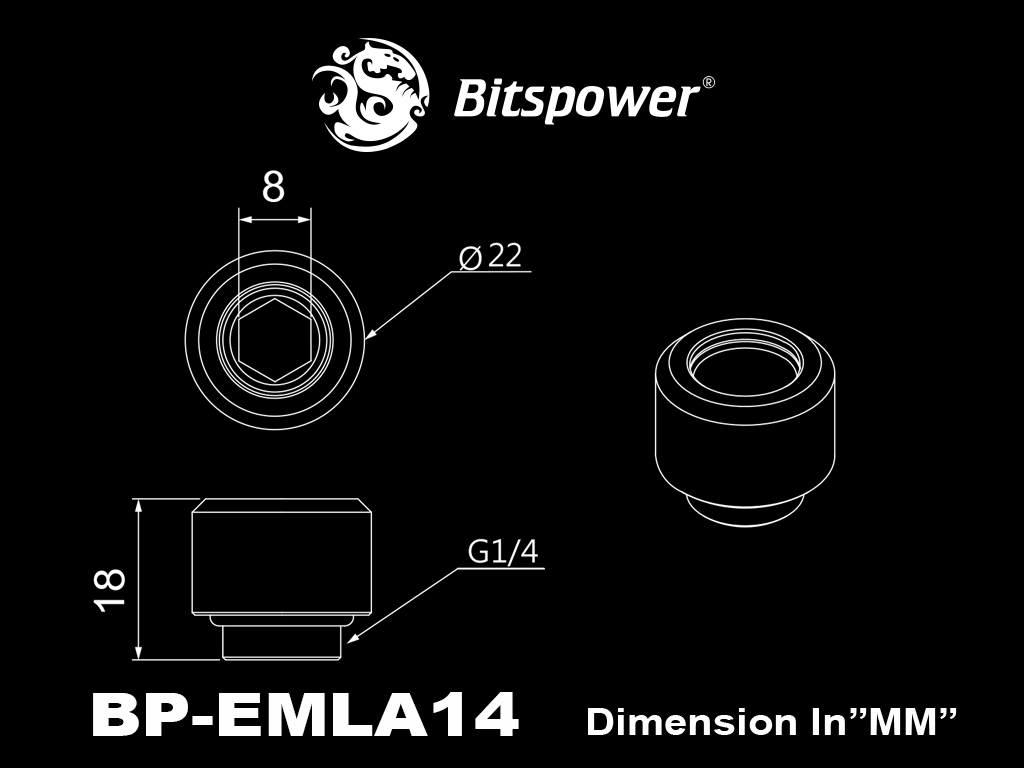 "Bitspower G1/4"" Matt Black Advanced Multi-Link For OD 14MM"