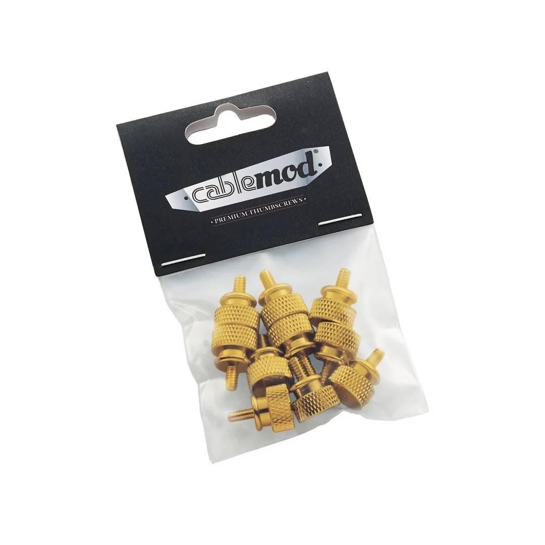 CableMod Anodized Aluminum Thumbscrews - UNC 6-32 - GOLD (CM-ATS-C632-10-A-R)