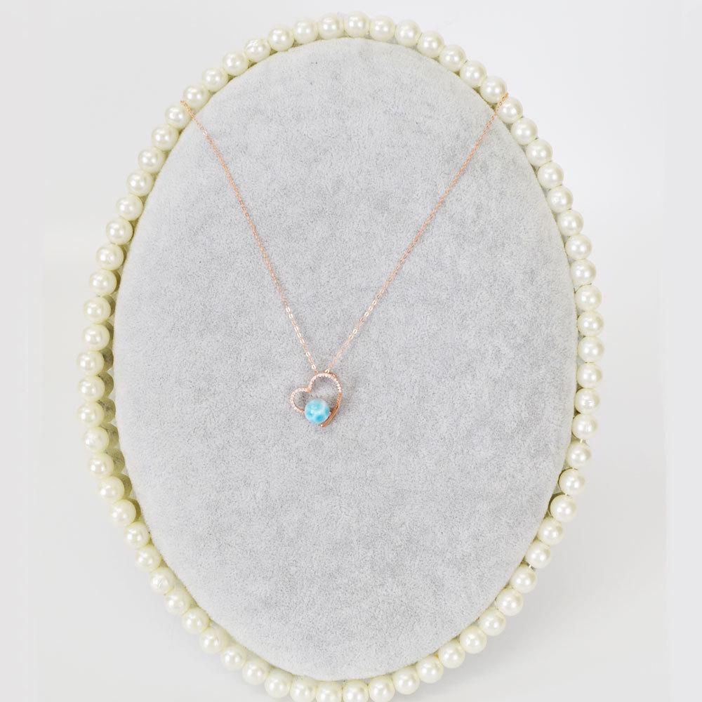 ラリマー<br>silver925製ネックレス<br>ハートモチーフ/ピンクゴールドカラー<br>癒し/対人<br>★★★★★