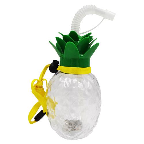 光るパイナップル型ボトル420ml(ジュースストロー・ストラップ付き)