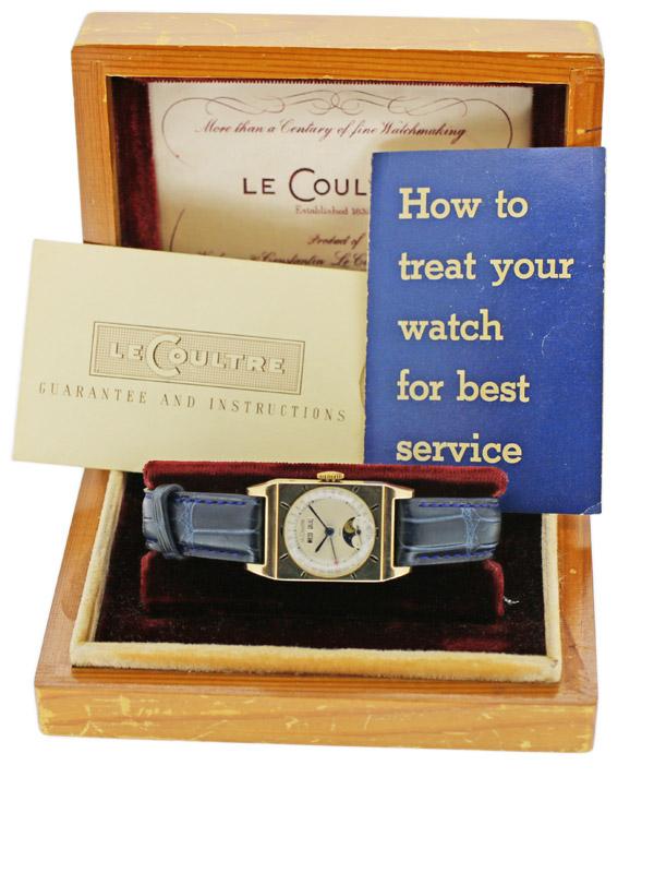 LeCoultre 10K.G.F.レクタングラーケース「トリプルムーンカレンダー」 ジャック・ダヴィド・ルクルト記念モデル BOX、保証書付き