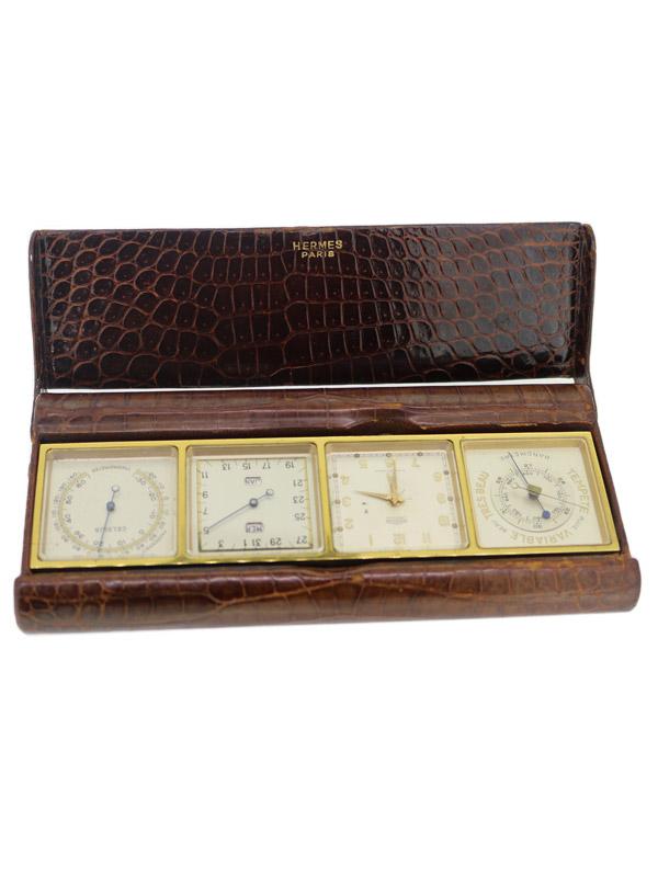 HERMESブラスメタルクロコ革ケース8日巻カレンダー温湿度計デスククロック made by ANGELUS