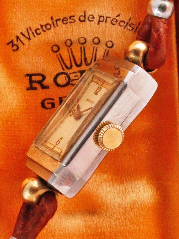 ROLEX SS/9K レクタングラーケース婦人用手巻き BOX付き