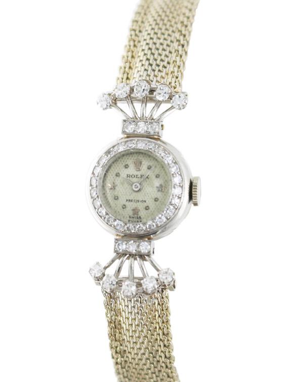 ROLEX Pt/ダイヤモンド装飾ラウンドケース婦人用手巻き スターダイヤル ホワイトゴールドブレスレット付き