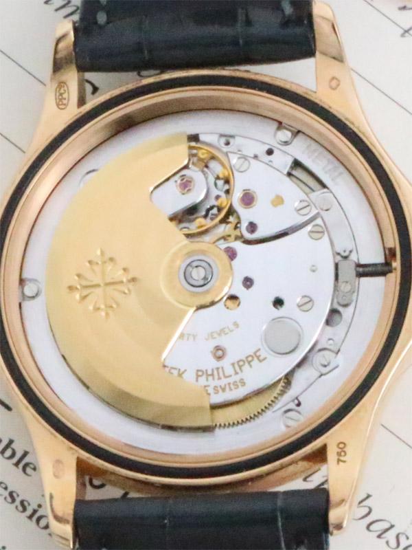 PATEK PHILIPPE 18K.ローズゴールドラウンドケースオートマチック「カラトラバ」BOX、保証書、18K.D.P.バックル付