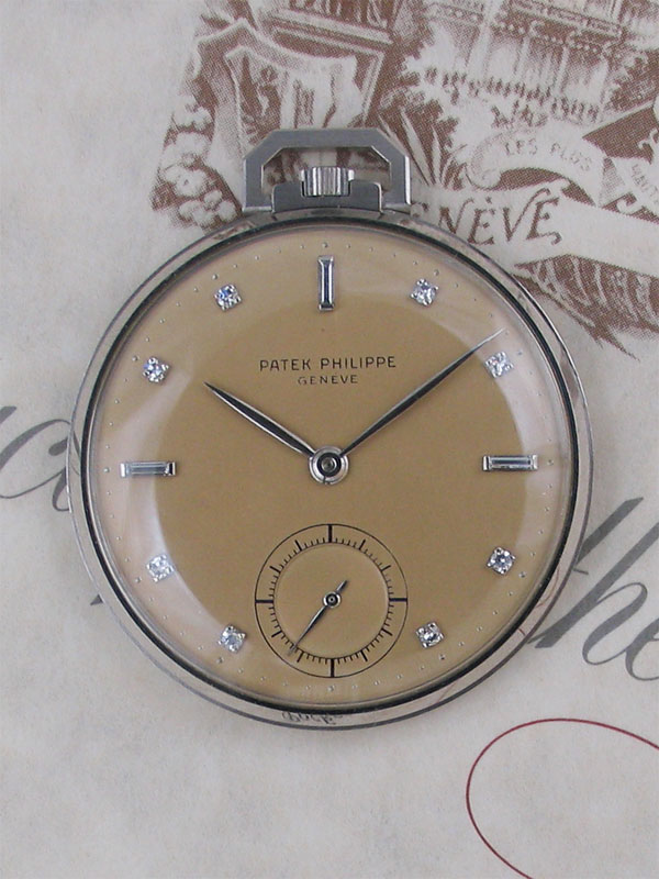 PATEK PHILIPPE Pt,ケースダイヤモンドダイヤル懐中時計BOX付 日本正規品 アーカイブ付