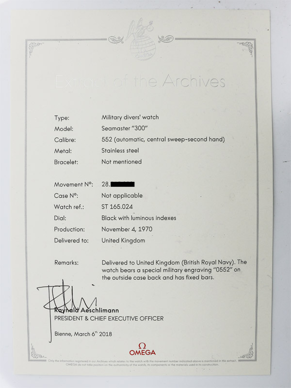 OMEGA SSスクリューバックケースオートマチックイギリス海軍ROYAL NAVY「Seamaster 300」ミリタリーモデル アーカイブ付き、※British Royal Navy Military issue アーカイブ追加取得済み