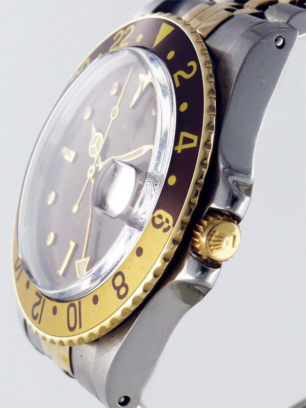 ROLEX SS/18K.オイスターパーペチュアルデイト「GMT−MASTER」シャイニーブウンカメレオンアイダイヤル