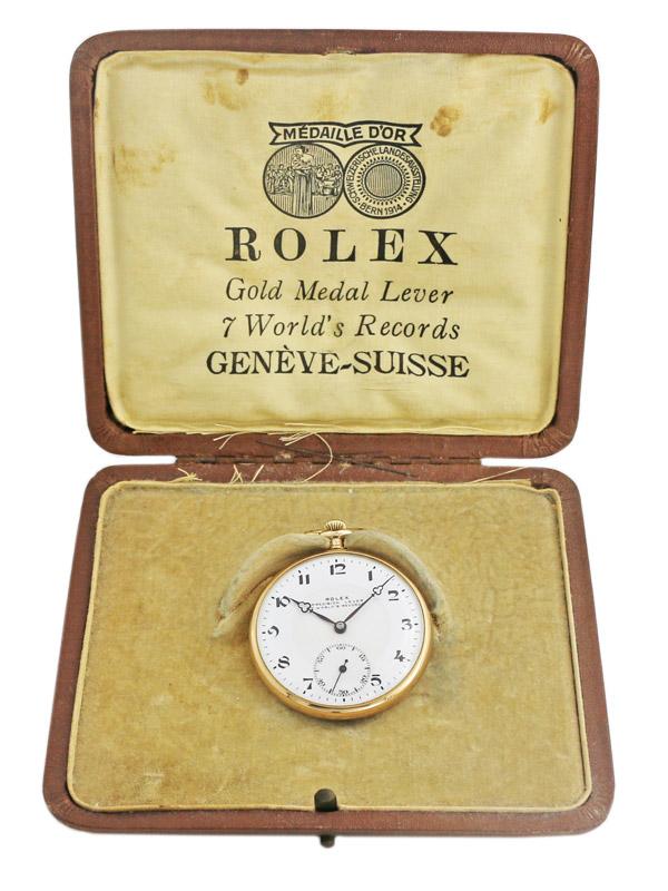 ROLEX 18K.イエローゴールド懐中時計 BOX,18K.チェーン(日本製)付き