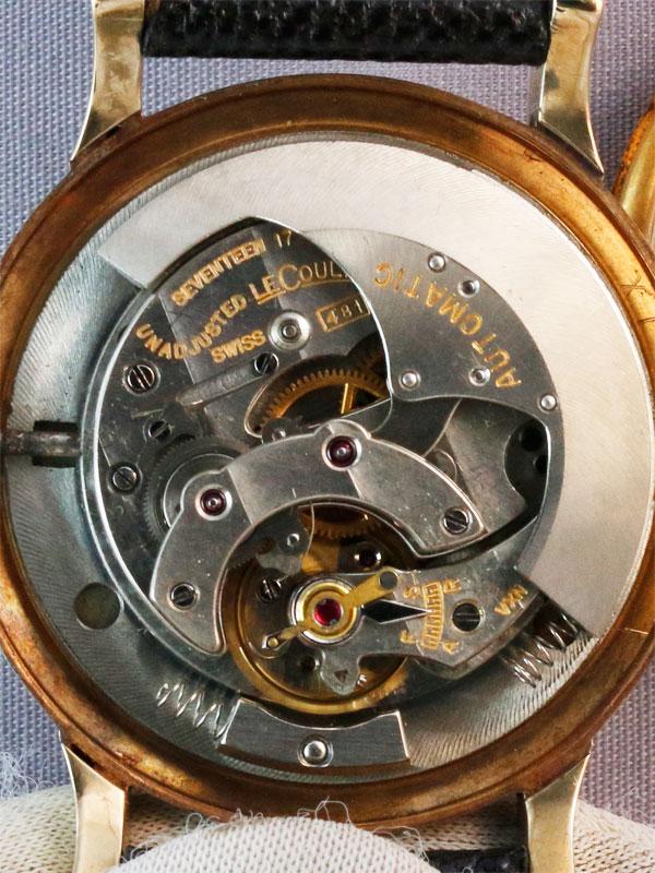 LeCoultre 14K.Y.G.ラウンドケース インジケーター付き 自動巻き ブラックミラー