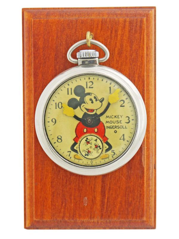 Mickey Mouse ベースメタルクロームメッキ仕上げ懐中時計 BOX、Fob付き