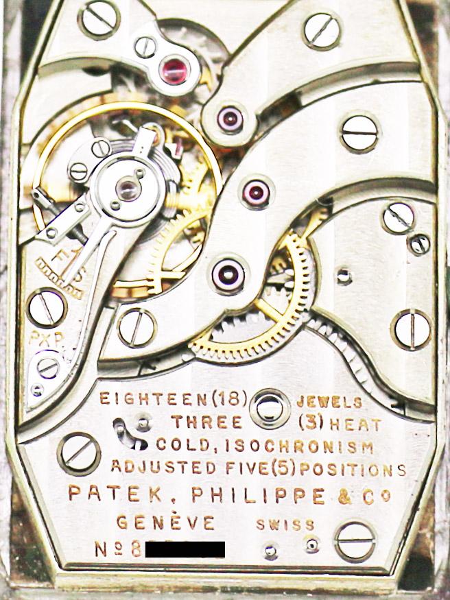 PATEK PHILIPPE & Co./TIFFANY&Co.Ptレクタングラーケース紳士用手巻アーカイブ付き
