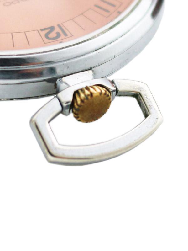 MOVADO ベースメタルクロームメッキケース懐中時計 ピンクアールデコダイヤル