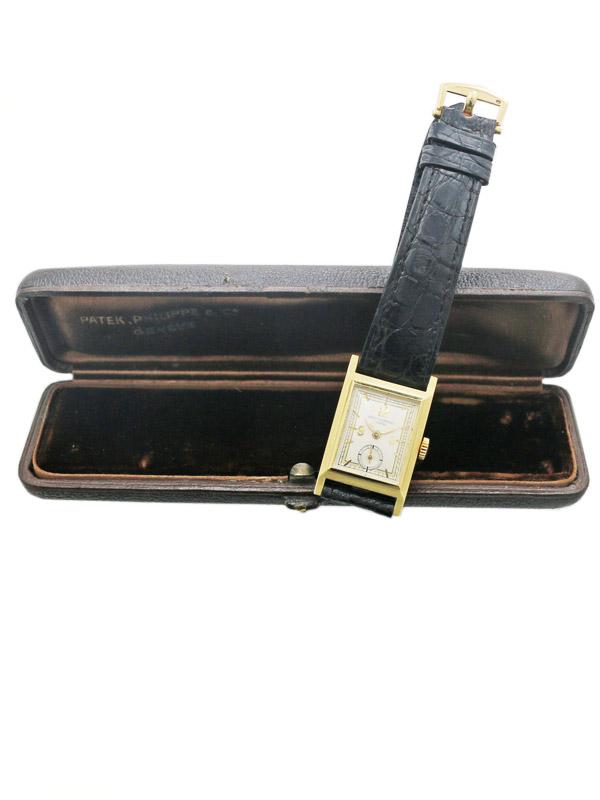 PATEK PHILIPPE & Co. 18K.イエローゴールド レクタングラーヒンジケース紳士用手巻き BOX付きアーカイブ申請中
