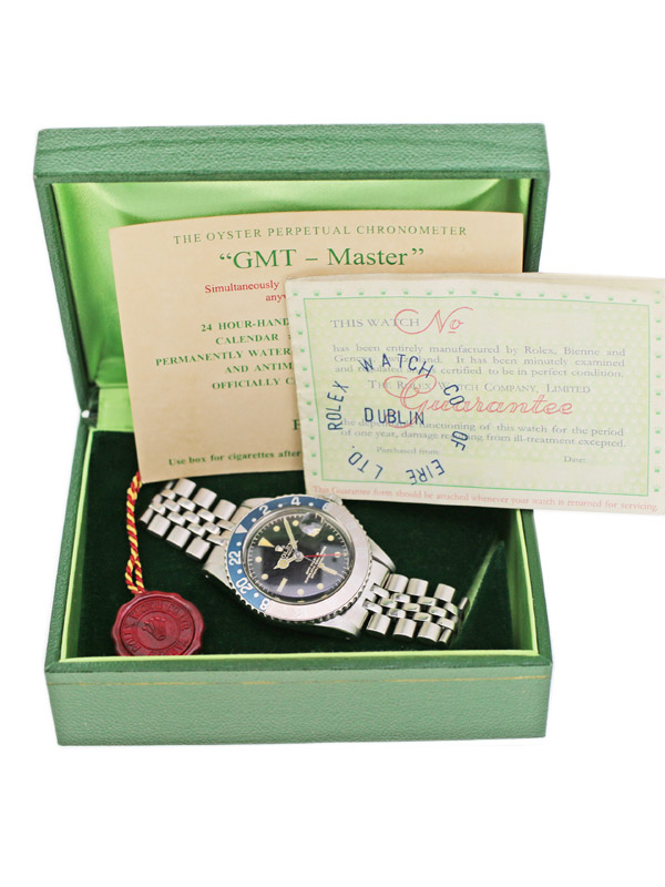 ROLEX SS オイスターパーペチュアル「GMT−MASTER」ポインテッドガードミラーサークルダイヤルBOX,保証書付き(ブランク)
