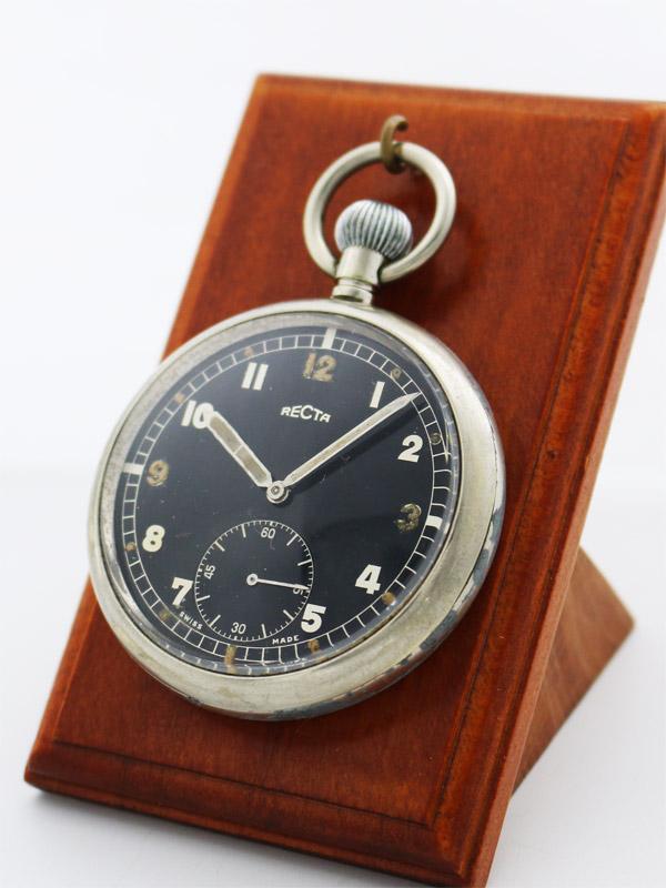 RECTA SSスナップバックラウンドケース イギリス軍用ミリタリー懐中時計
