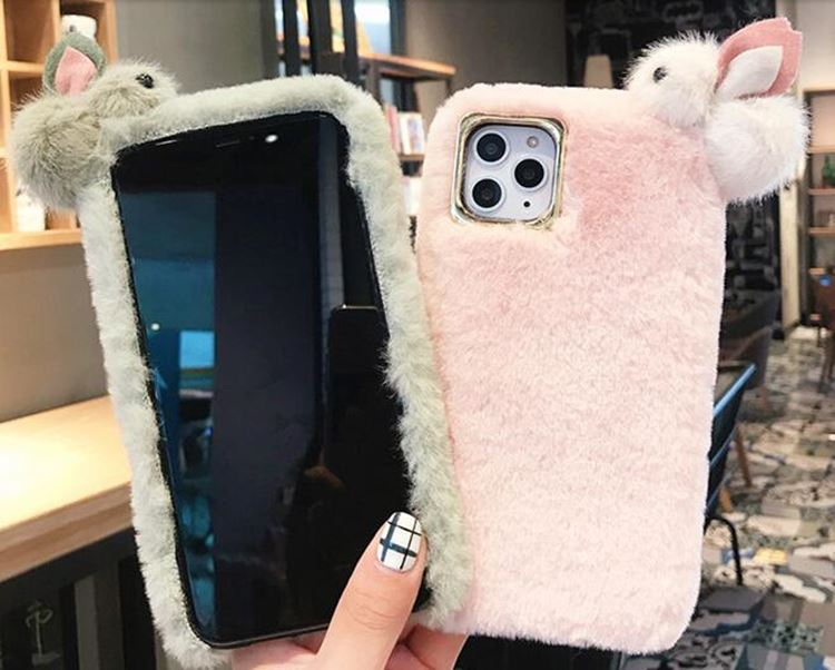 送料無料!iPhone 11 Pro Maxケース iPhone11 pro maxカバー アイフォン11 プロ マックス ケース Apple 6.5インチ スマホケース 保護カバー 背面カバー ファー ふわふわ ウサギ かわいい
