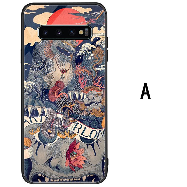 送料無料 Samsung Galaxy S10 ケース ギャラクシー s10 ケース サンスム 6.1インチ SCV41 SC-03L docomo au スマホケース TPU&ガラスケース 背面カバー かわいい 龍 おしゃれ