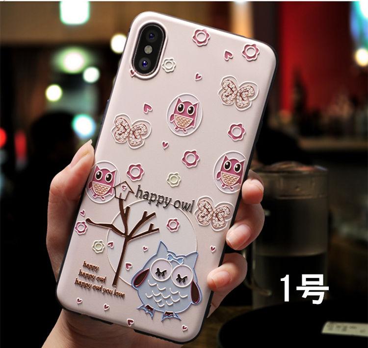 iPhone �S ケース iPhone X ケース アイフォンX カバー Apple 5.8インチ 背面カバー 浮き彫り フクロウ ウサギ かわいい