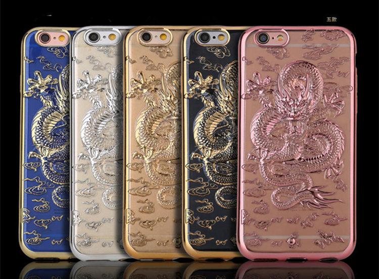 送料無料!iphone8 plus ケース iphone7 plus ケース アイフォン8 プラス ケース アイフォン7 プラス カバー Apple 5.5インチ スリム フィット 金メッキ 3D浮き彫り 竜