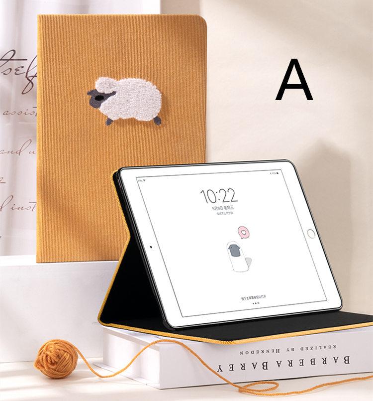 送料無料 iPad Pro 11インチ アイパット カバー(11インチ) タブレットPC 手帳型 オートスリープ機能付き 3D 刺繍 ソフトケース かわいい 羊&ペンギン&犬