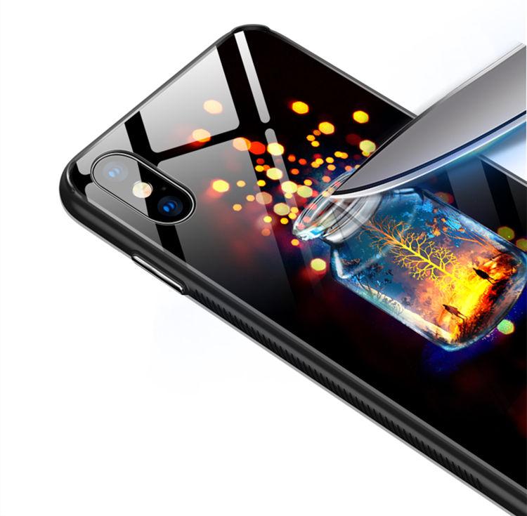 iPhone �S Maxケース iPhone XS Max ケース アイフォン テンエス マックス カバー Apple 6.5インチ スマホケース 背面カバー TPU ガラスケース 夜に光る