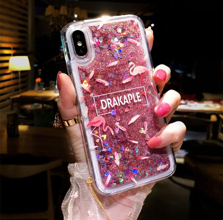 iPhone �S Maxケース iPhone XS Max ケース アイフォン テンエス マックス カバー Apple 6.5インチ 保護カバー 背面カバー キラキラ 流れる 鶴 おしゃれ チェーン付き