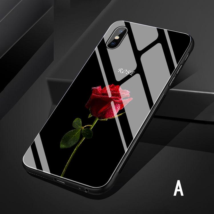 iPhone �S ケース iPhone X ケース アイフォンX カバー Apple 5.8インチ スマホケース  背面カバー  TPU&ガラスケース バラ